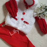 Knitting pattern for baby child furry jacket. Jilly Christmas cardigan