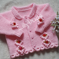 Knitting pattern for Sunday Best Cardigan, baby girl cardigan, childrens pattern