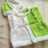 Knitting pattern for Elizabeth baby cardigan, waistcoat, vest, Patterns