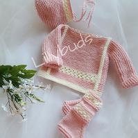 Knitting pattern for Phoebe baby set. Baby knitting pattern