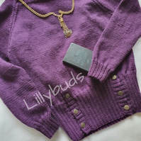 Hand knitted ladies purple, fashion jumper. Sweater, Wool jumper