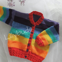 Rainbow Days Cardigan, Baby jackets, Childs Cardigan, Multicoloured, Striped