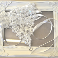 Lace and Sequin Corset Style Bridal Garter 'Evangeline'