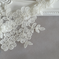 Ivory Floral Lace Wedding Garter 'Serenity'