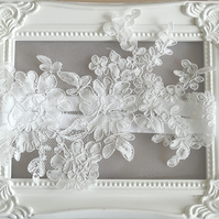 Large Lace Applique Bridal Garter 'Serena'