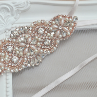 Rose Gold Rhinestone and Pearl Wedding Garter 'Camila'