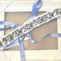 Rose Cross Stitch Bridal Garter 'Bridget'