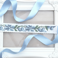 Small Cross Stitch Tie Bridal Garter 'Heidi'