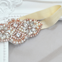 Rose Gold and Pearl Bridal Garter 'Mini Camila'