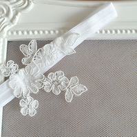Tiny Lace Applique Bridal Garter 'Lara'