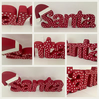 Any word or name. Cute handmade freestanding wooden Christmas style decorations