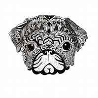 Zentangle black and white puppy drawing print on archival paper