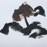 Original illustration,drawing with ink abstract drawing, tree