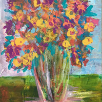 Flower painting, still life, abstract art on canvas