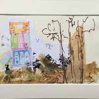 Abstract landscape art watercolour painting, mixmedia, collage, markers,