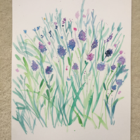 Purple lavender flowers in Watercolour