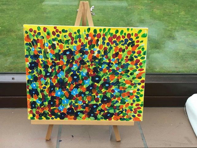 canvas painting, abstract blue flowers, spring, colourful, yellow