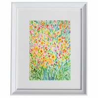 Watercolour floral art, spring flowers, original drawing, painting, wall art,