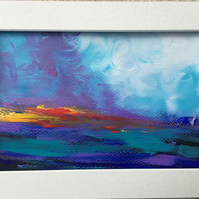 Abstract landscape sea painting on paper, sunset,sunrise,colourful ,