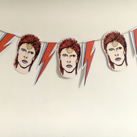 Bowie bunting, paper garland, David Bowie print