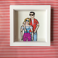 True Romance paper dolls, Framed paper dolls, film art