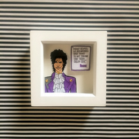 Prince paper doll, framed print, wall art, perfect gift for Prince fans