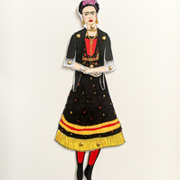 Frida Kahlo doll, Frida print, articulated doll, paper gifts