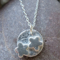 small flowers fine silver pendant necklace with sterling silver chain