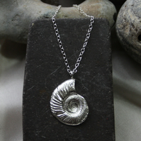 Silver ammonite - fine silver pendant necklace with sterling silver chain