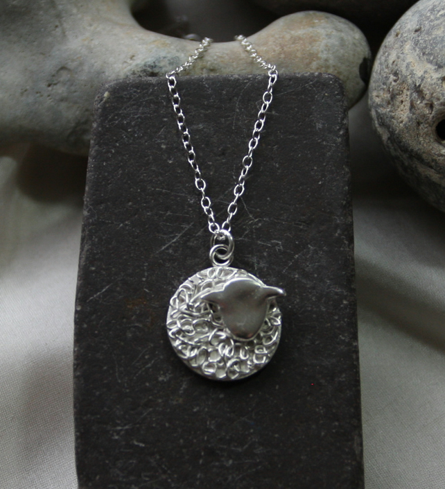 fine and funky silver sheep pendant necklace with sterling silver chain