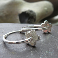 Small silver flower hoop earrings