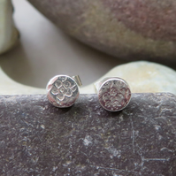small textured silver stud earrings
