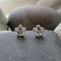 tiny silver blossom stud earrings