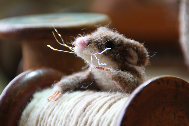 Clambering Mill Mouse - needle felted mouse sculpture with vintage wooden bobbin