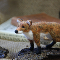 Standing fox - needle felted fox sculpture on a bark base