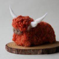Wee Moo Coo - needle felted highland cow sculpture in rusty-orange