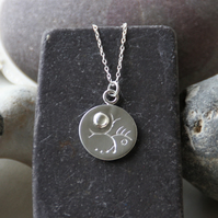 'Tree and moon' - fine silver pendant necklace with moonstone detail