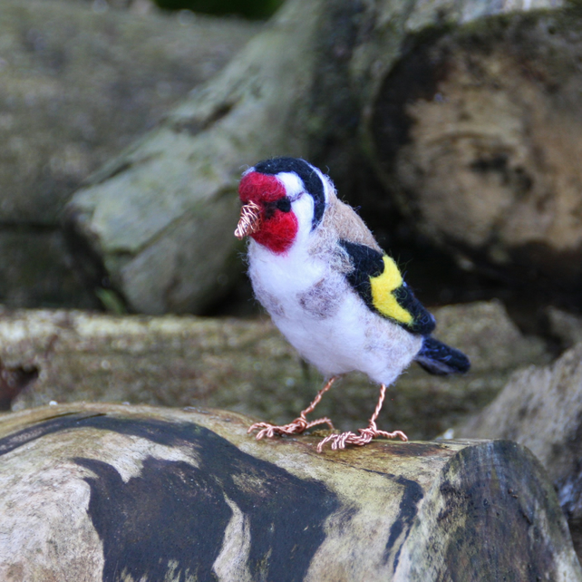 Needle felted goldfinch sculpture