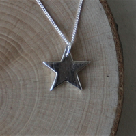 Reversible fine silver star necklace