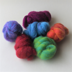 """Corriedale Candy"" Wool Pack - colourful carded wool slivers for felting"
