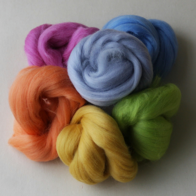 """Merino Pastels"" Wool Pack for felting - 60g pack of six merino colours"