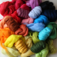 """Merino-Lucky Dip"" Wool Pack - 150g of dyed Merino wool tops for felting"