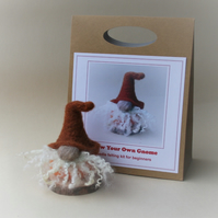 'Grow Your Own Gnome' needle felting kit for beginners (RUST:ORANGE)