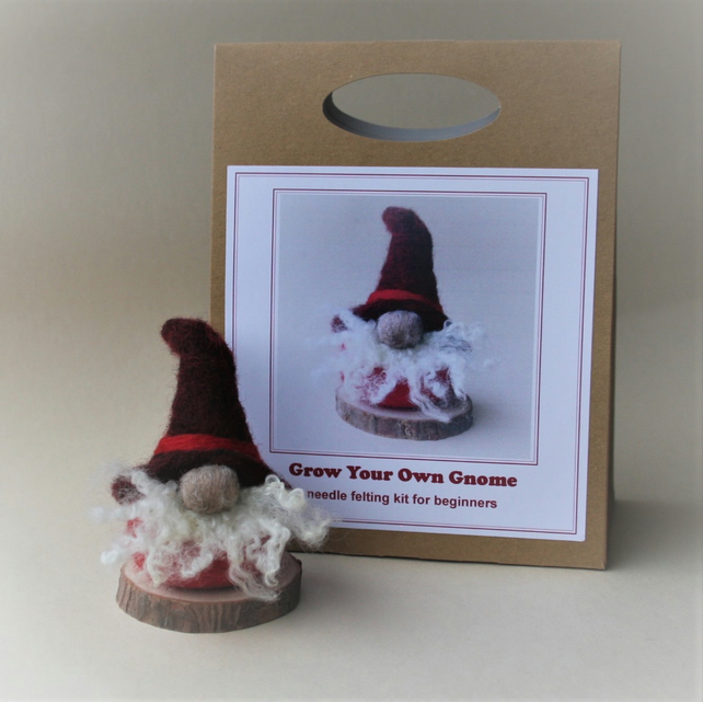 'Grow Your Own Gnome' needle felting kit for beginners to make a RED tomte gnome