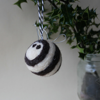 """Bee Humbug!"" - MADE TO ORDER - large felted Bah Humbug christmas bee bauble"