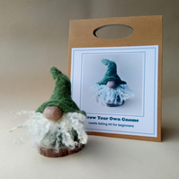'Grow Your Own Gnome' needle felting kit for beginners (GREEN)