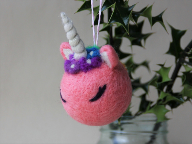 Large pink unicorn christmas tree bauble - MADE TO ORDER - felted decoration
