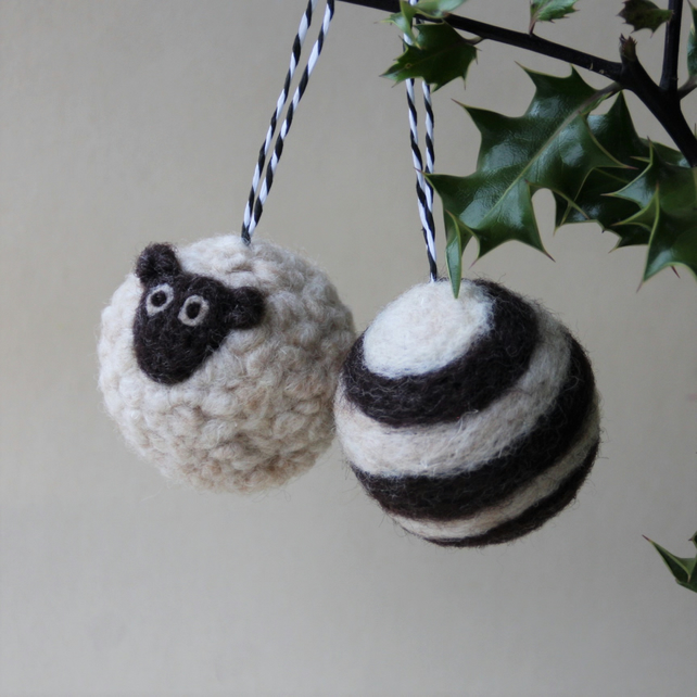 """Baa Humbug!"" - MADE TO ORDER - pair of medium christmas bauble decorations"