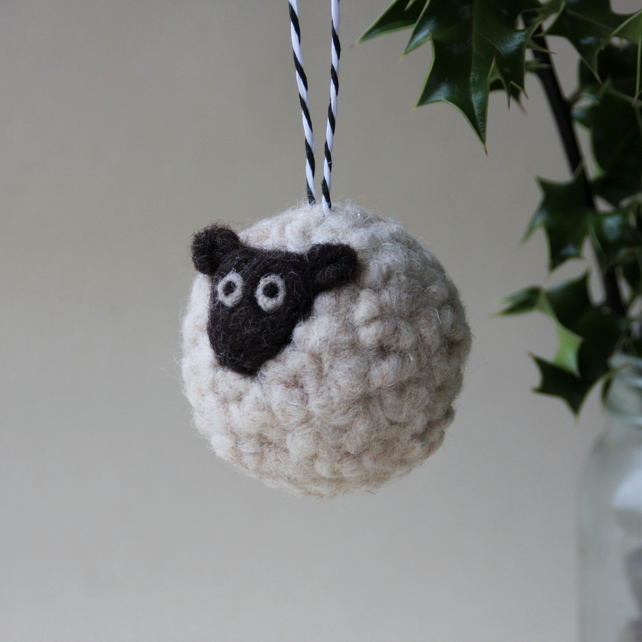 Large needle felted sheep bauble -MADE TO ORDER