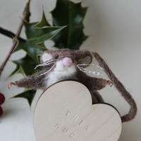 """This Much"" - needle felted mouse sculpture"